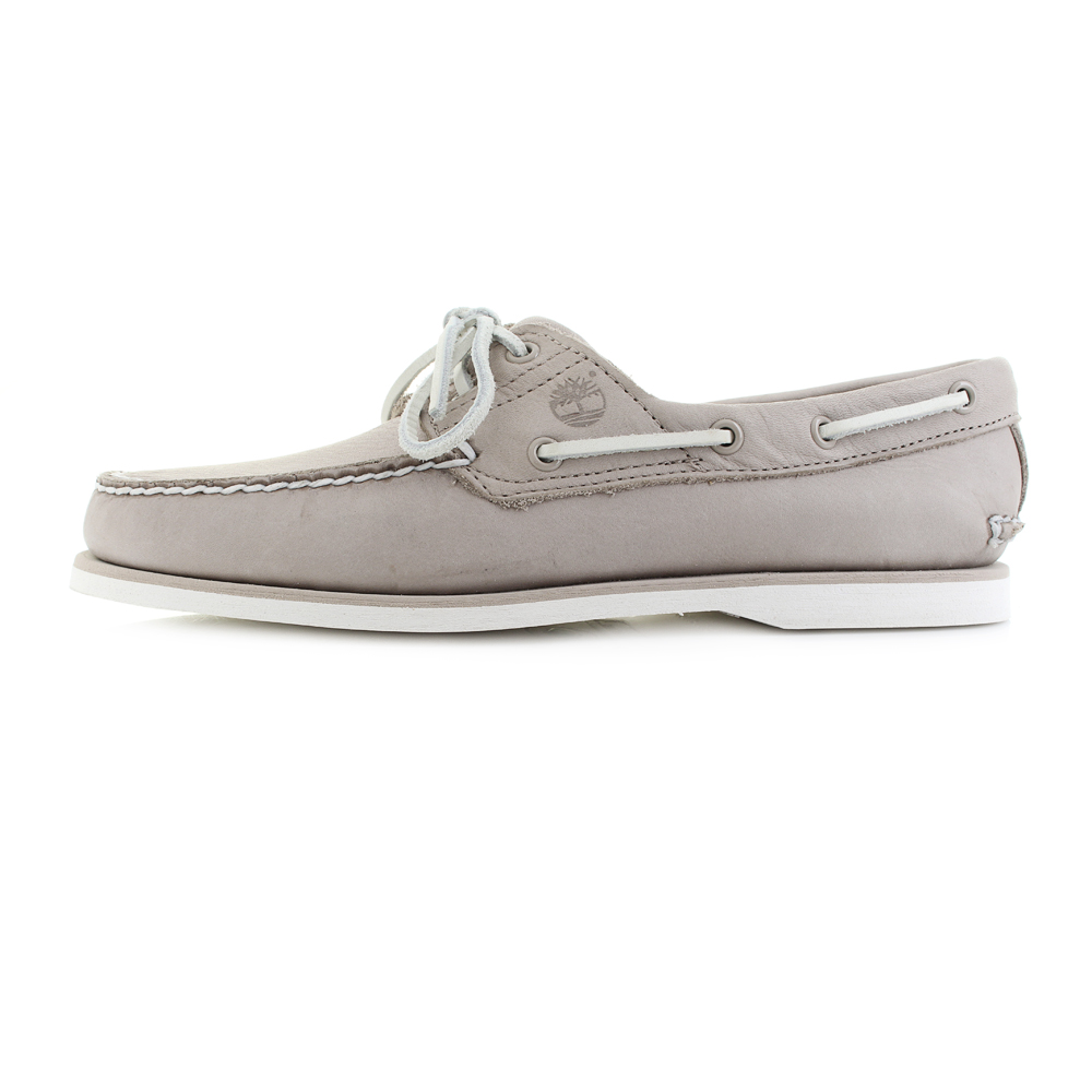 d8f0bee115d908 Womens Timberland CLS21 Light Taupe Grey Leather Boat Shoes UK Size ...