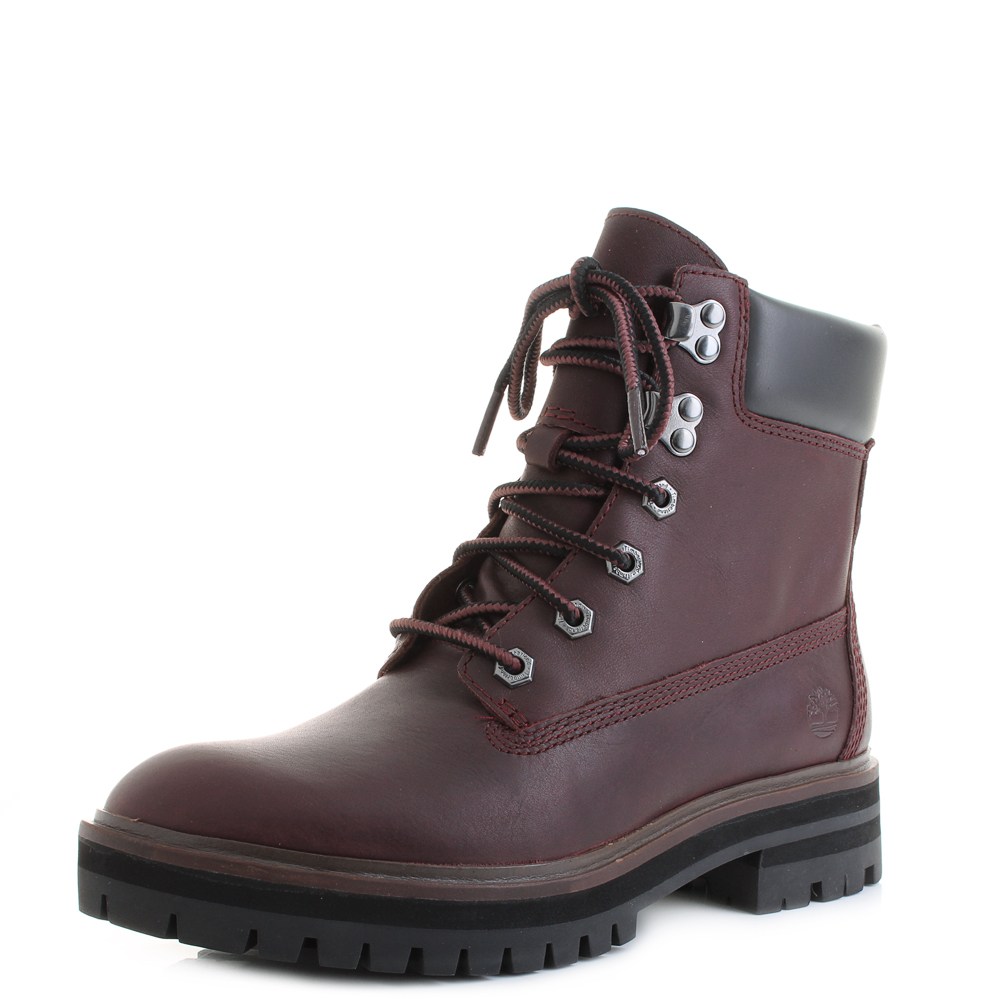 a5cb5e1623811 Womens Timberland London Square 6 Inch Dark Port Lace Up Leather Boots Size