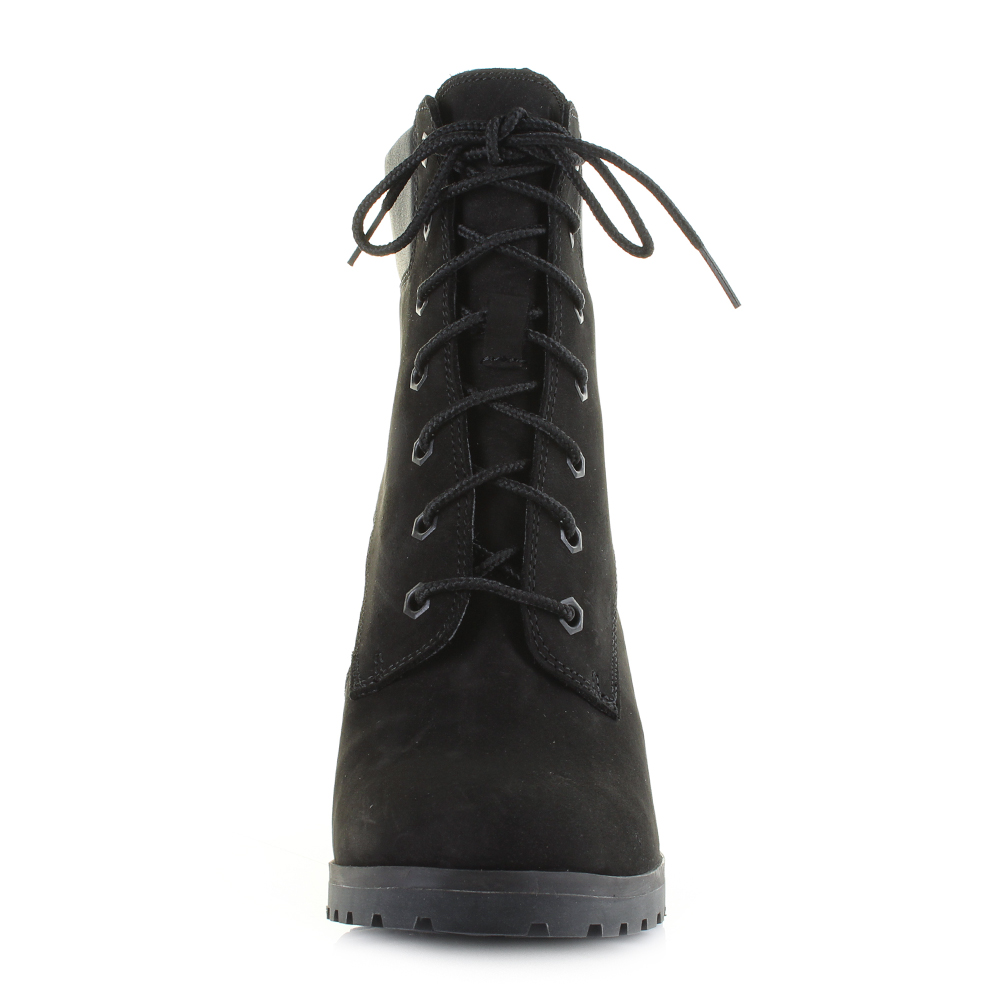 c95cd022990 Womens Timberland Allington 6 inch Lace Up Black Heeled Ankle Boots Size