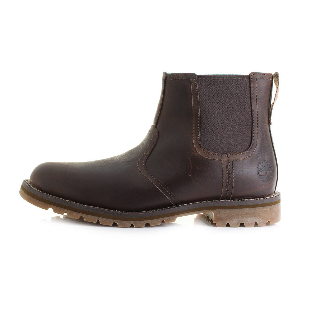 Mens-Timberland-Larchmont-Chelsea-Gaucho-Brown-Leather-Boots-