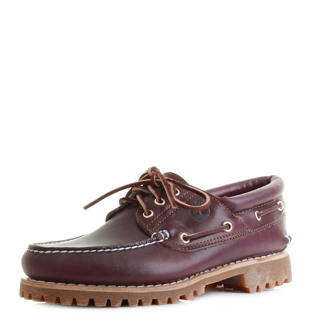 Mens Timberland Trad HS 3 Eye Classic Boat Shoes Burgundy Red Leather Sz  Size c1474bd247f