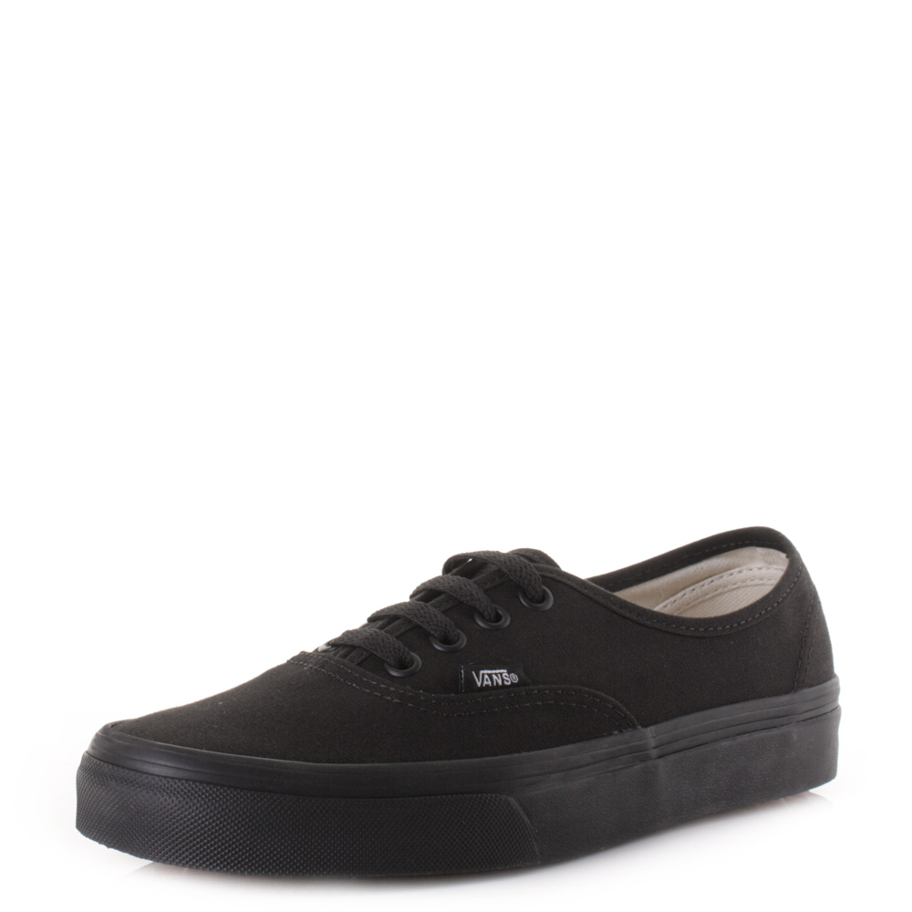 232c6c941f76 Womens Vans Authentic Black Black Lace Up Casual Skate Trainers Shoes Uk  Size