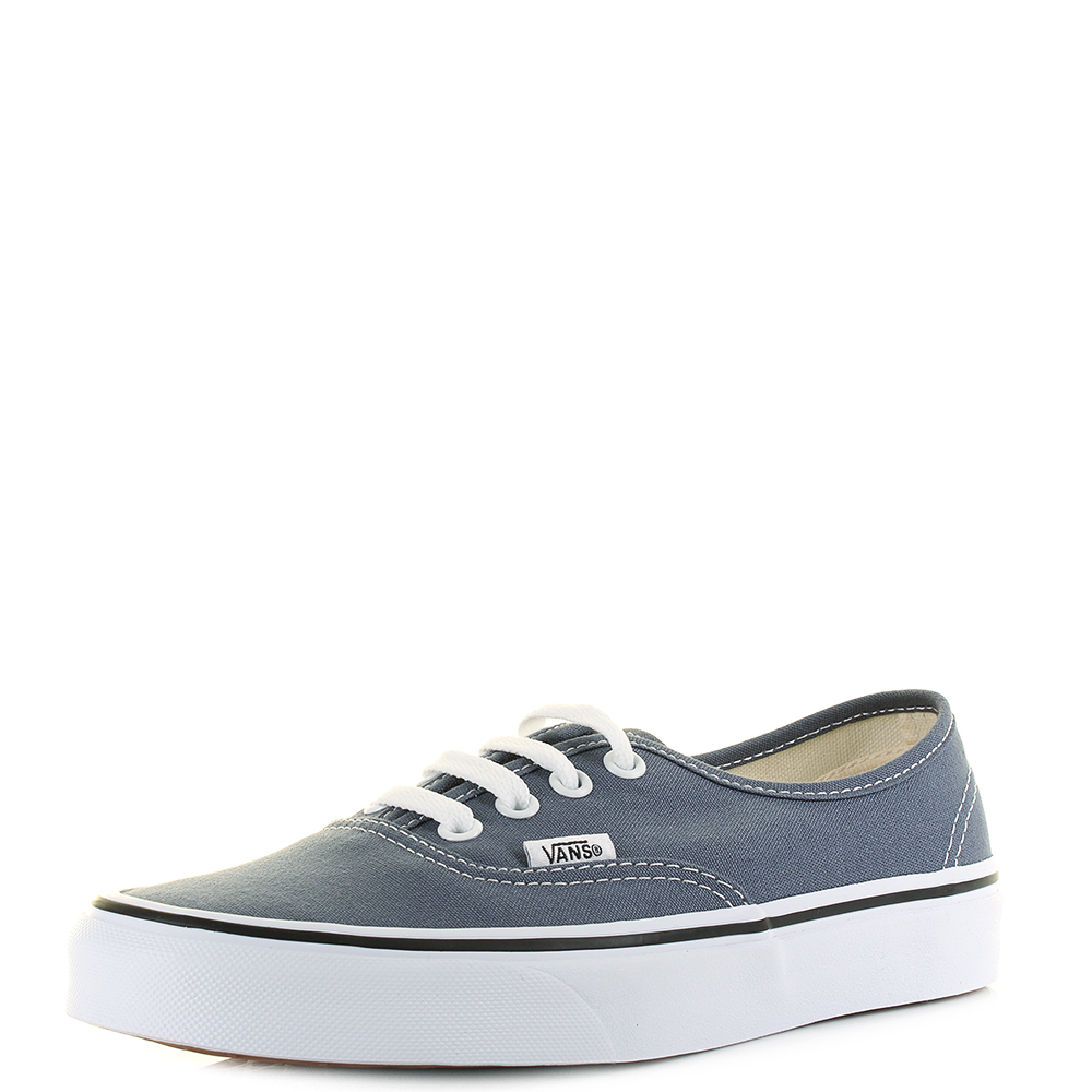 988c40c037 Details about Womens Vans Authentic Grisaille True White Grey (Blue) Canvas  Trainers UK Size