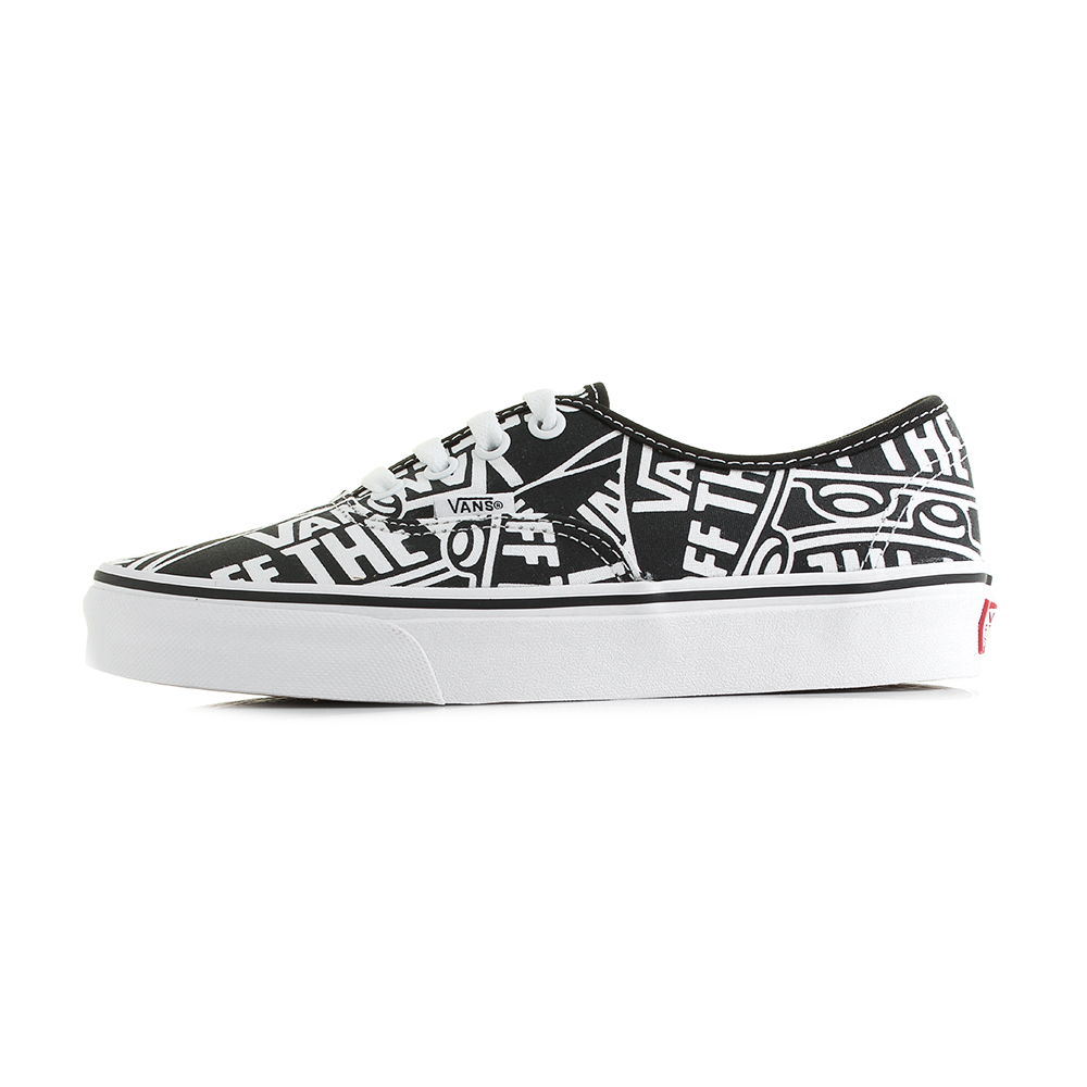 074864f905 Vans Authentic (Off The Wall) Black True White Classic Canvas Trainers Shu  Size