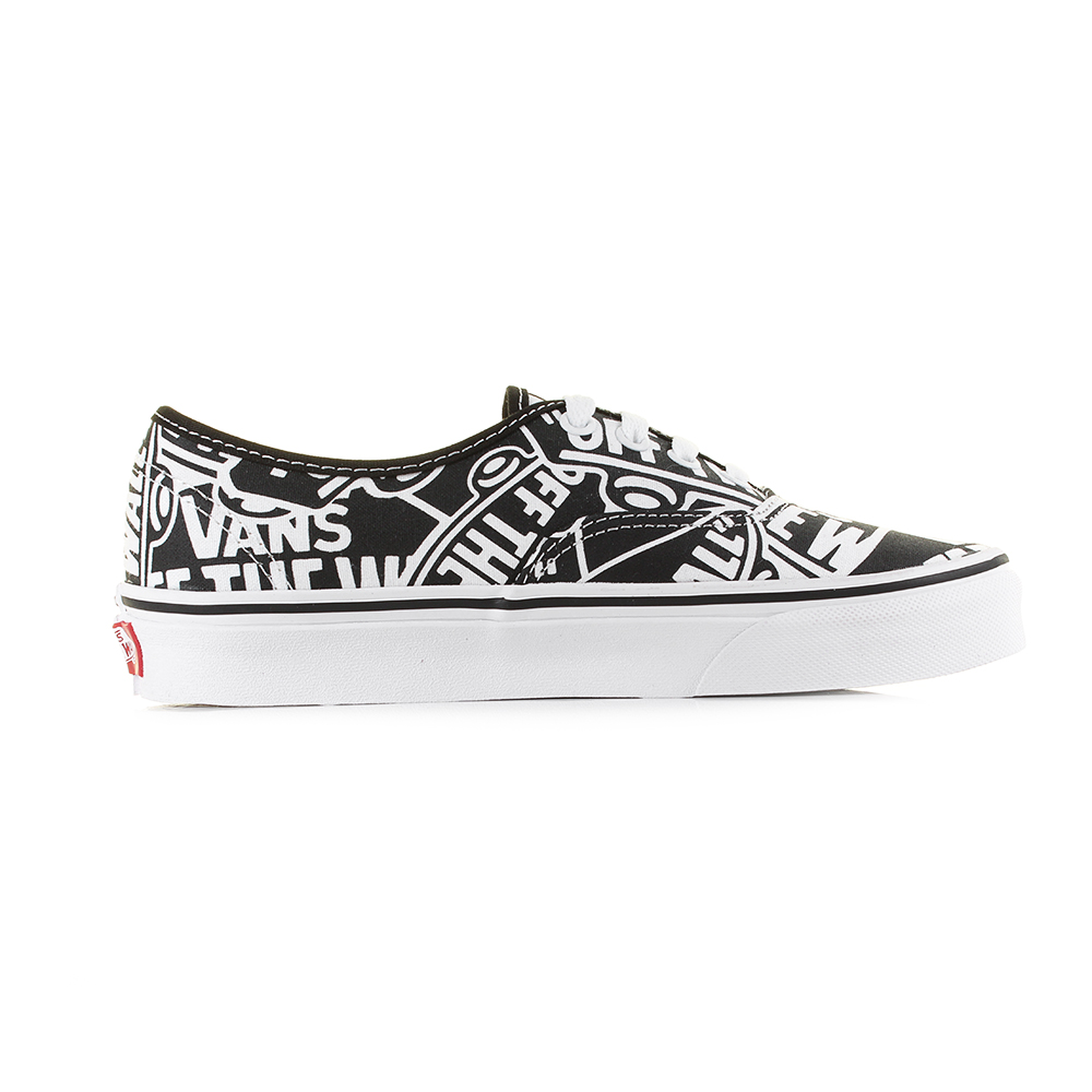 58f0d34829 Vans Authentic (Off The Wall) Black True White Classic Canvas Trainers Size