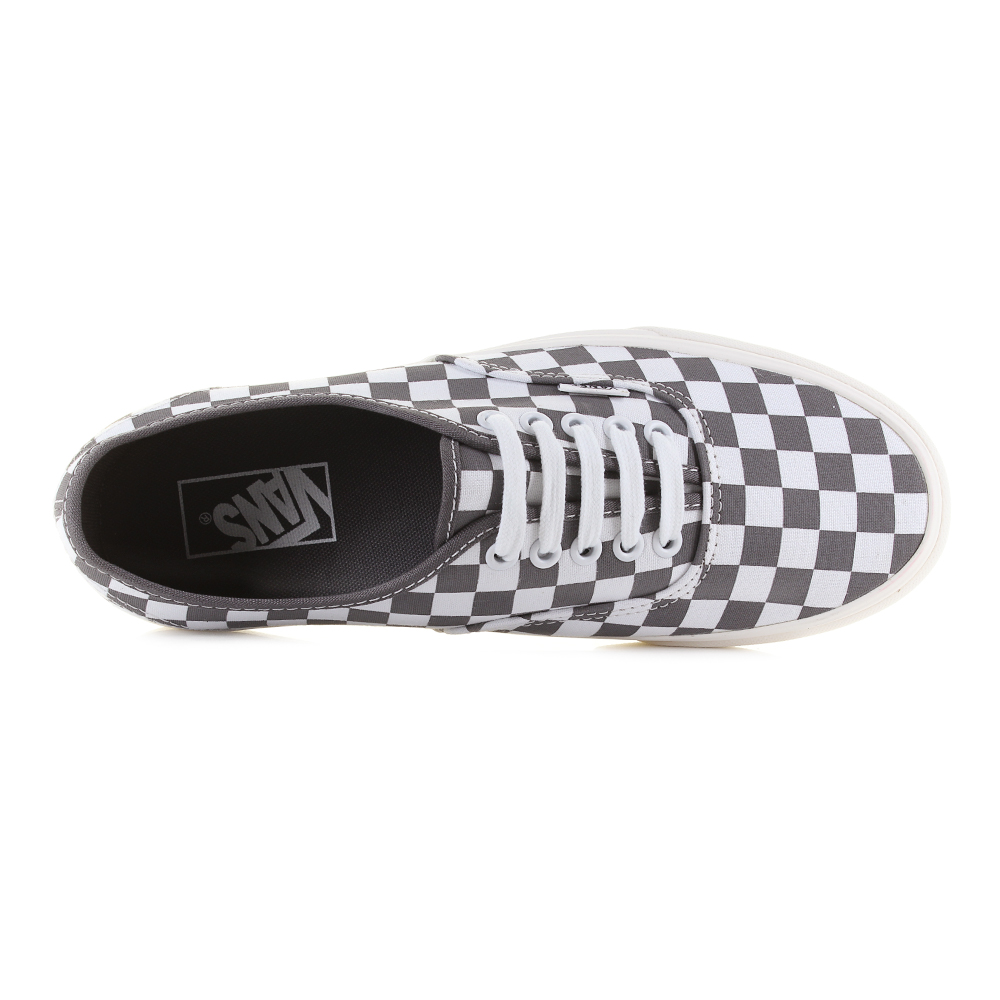 8669d995f20 Mens Vans Authentic Pewter Checkerboard Grey White Casual Trainers Sz Size.  Classic Vans trainer that uses a full checkerboard upper for a unique and  eye ...