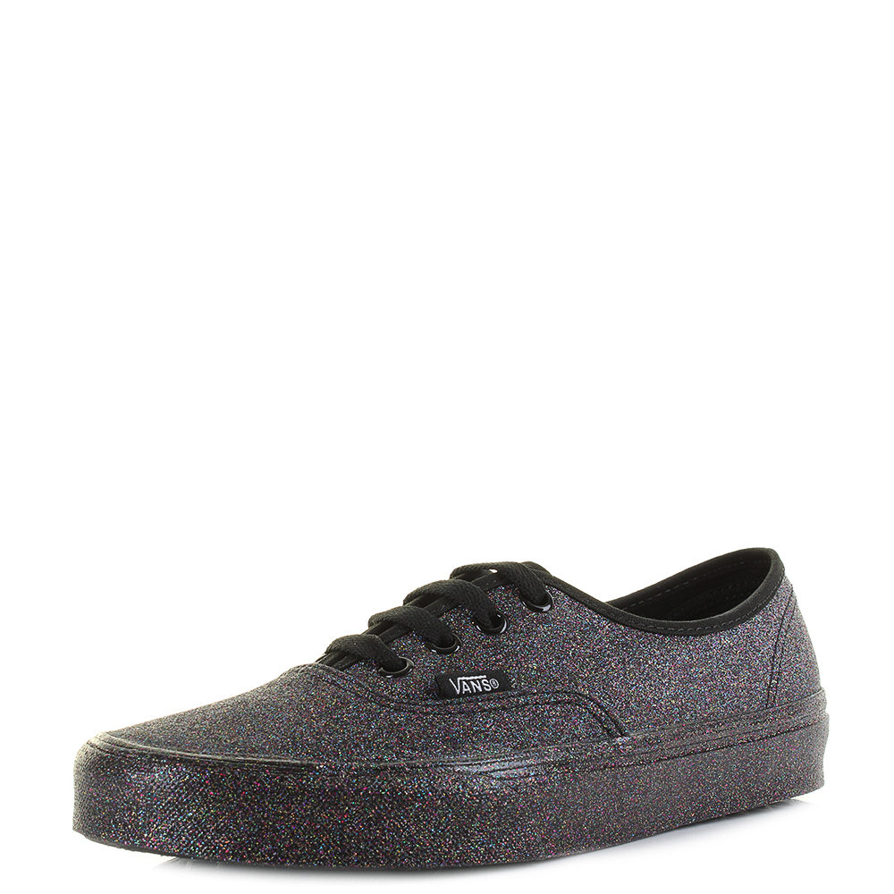 0f4e24e348 Image is loading Womens-Vans-Authentic-Rainbow-Glitter-Black -Fashion-Trainers-