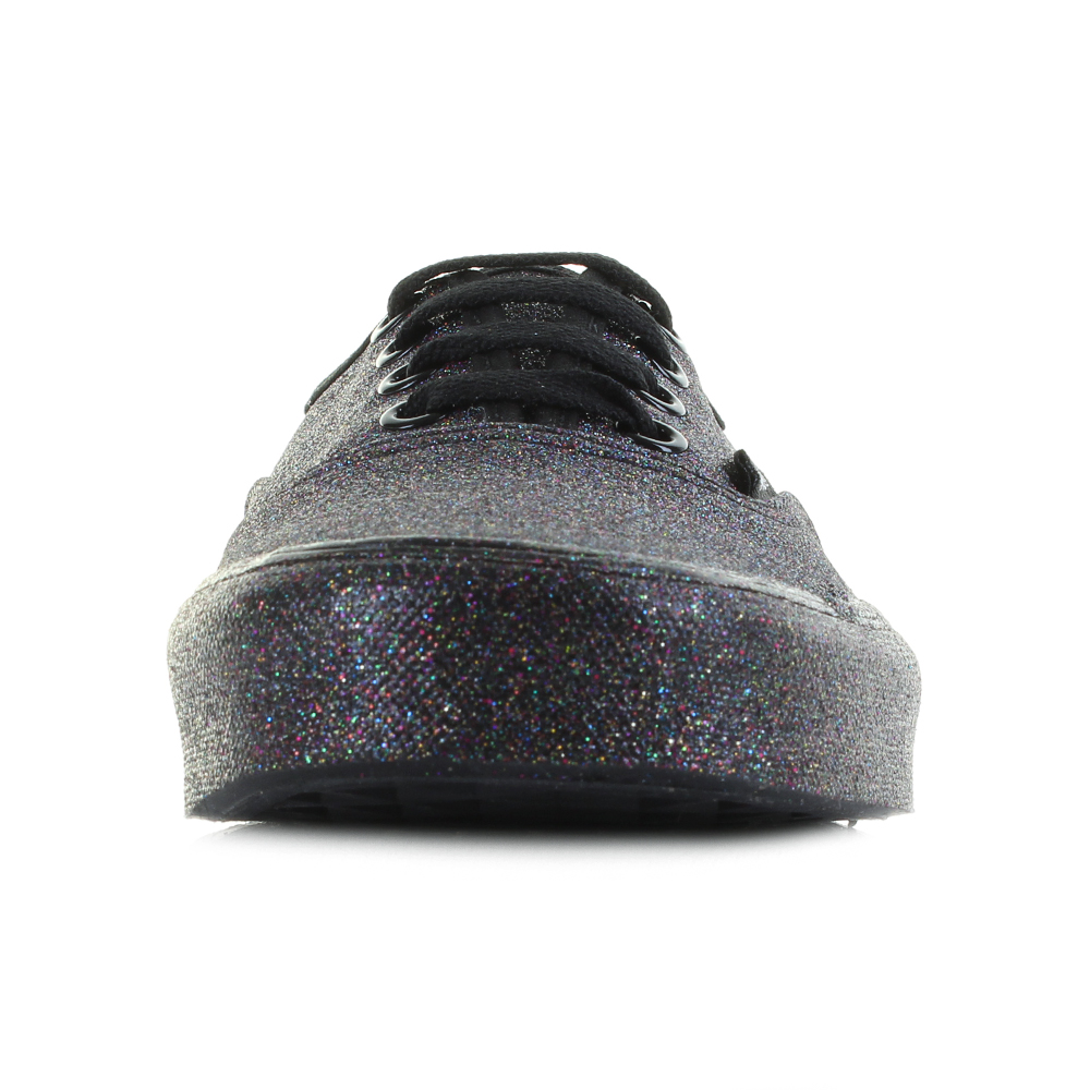 2501d89130ee Womens Vans Authentic Rainbow Glitter Black Fashion Trainers Shoes UK Size