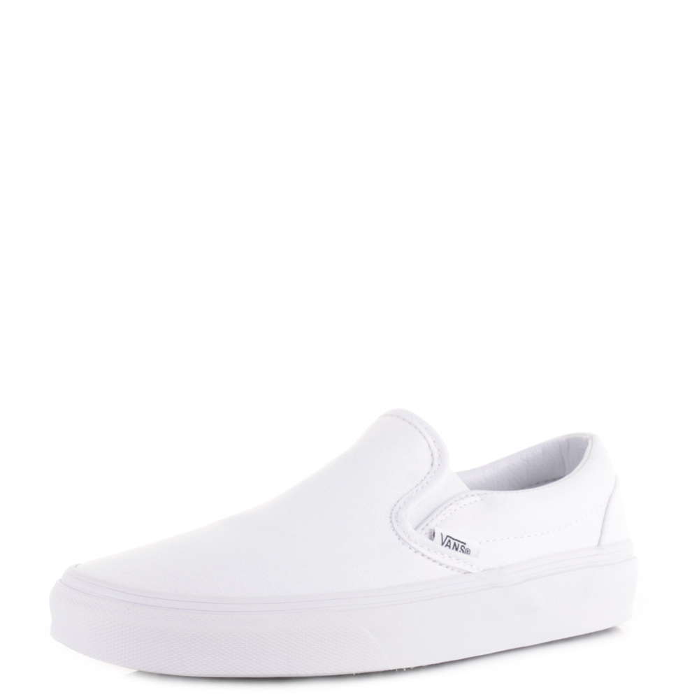 Womens Vans Classic Slip On True White Casual Skate Plimsolls Trainers Size