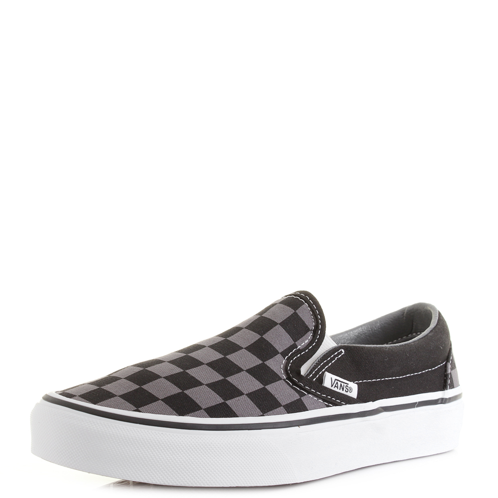 7bb8742601 Vans Classic Slip-On Black Pewter Grey Checker Board Trainers Shoes Shu Size