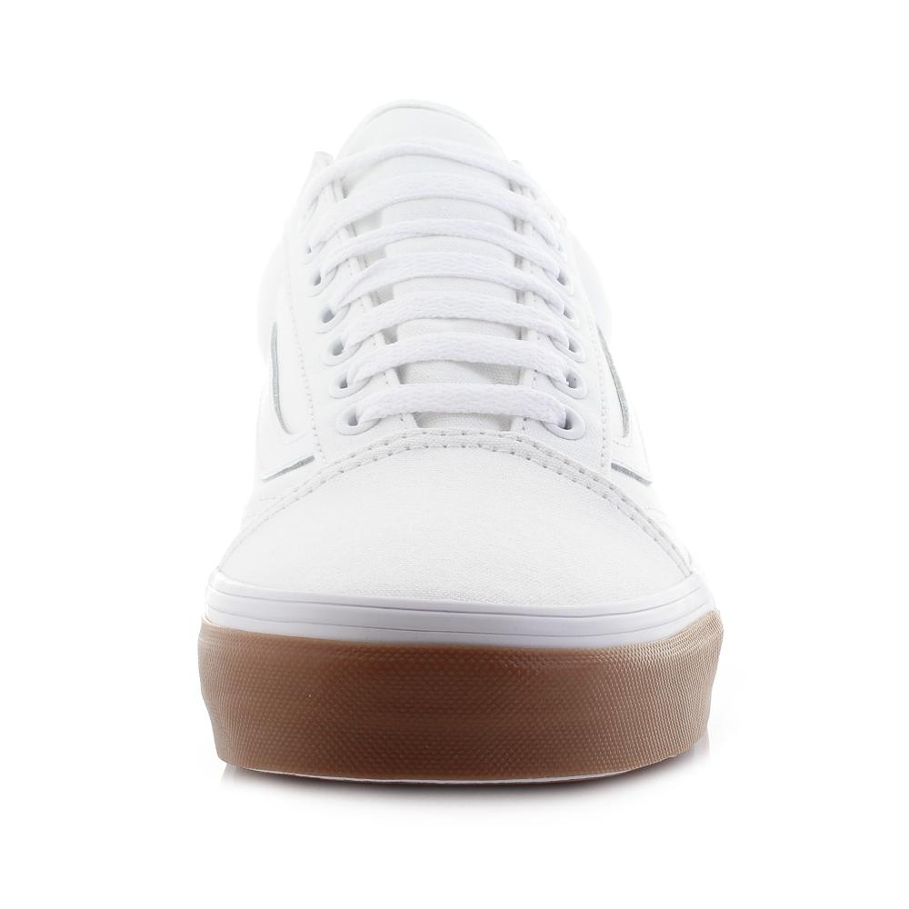 458174ef182672 Mens Vans Old Skool Gum Bumper White Canvas Skate Trainers Sz Size ...