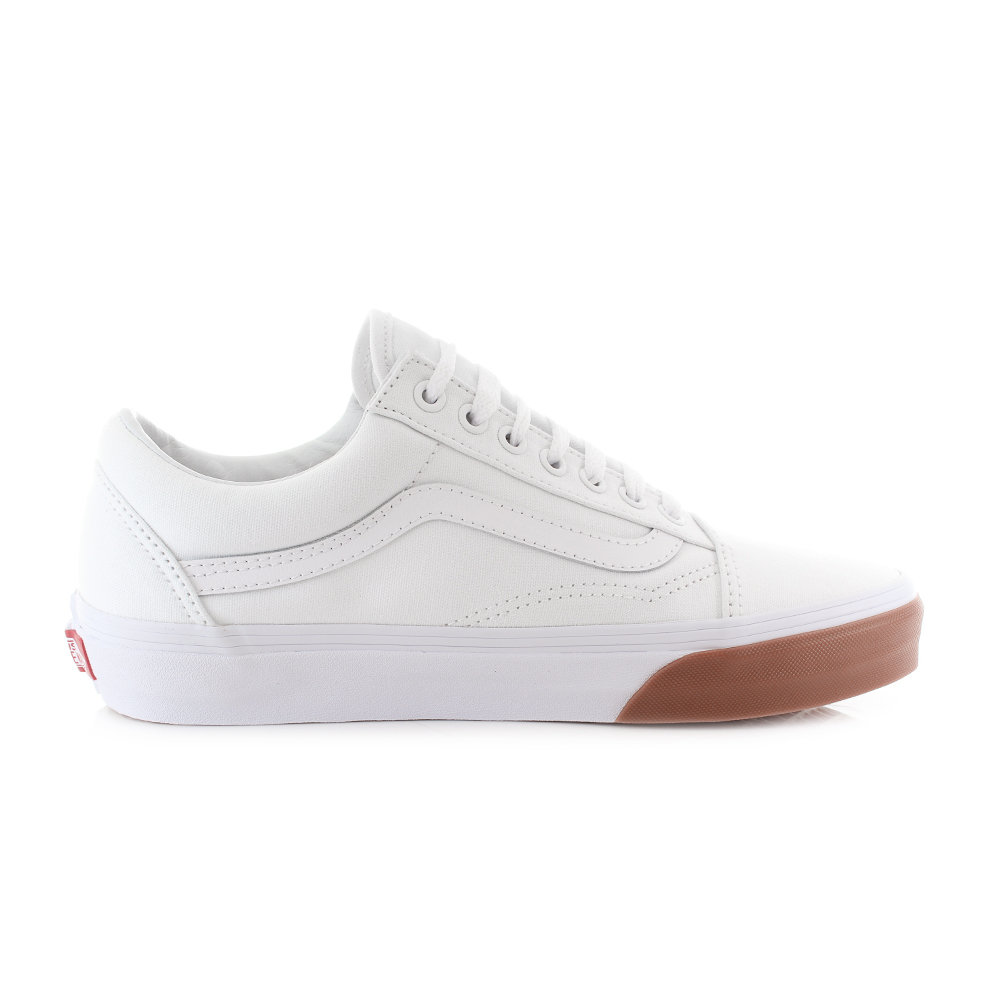 72a289cd5b9407 Mens Vans Old Skool Gum Bumper White Canvas Skate Trainers Sz Size ...