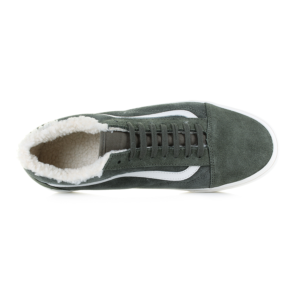 4fce69dd36c5f3 Mens Vans Old Skool Suede Sherpa Grape Green Leather Trainers UK Size