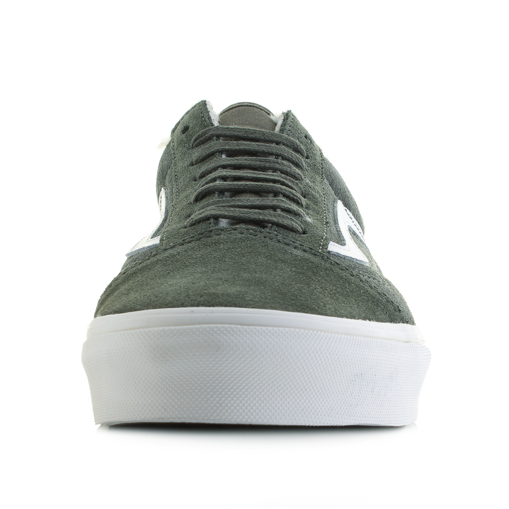6ebe2ae50d3502 Mens Vans Old Skool Suede Sherpa Grape Green Leather Trainers Size. The  first to bear the iconic side stripe