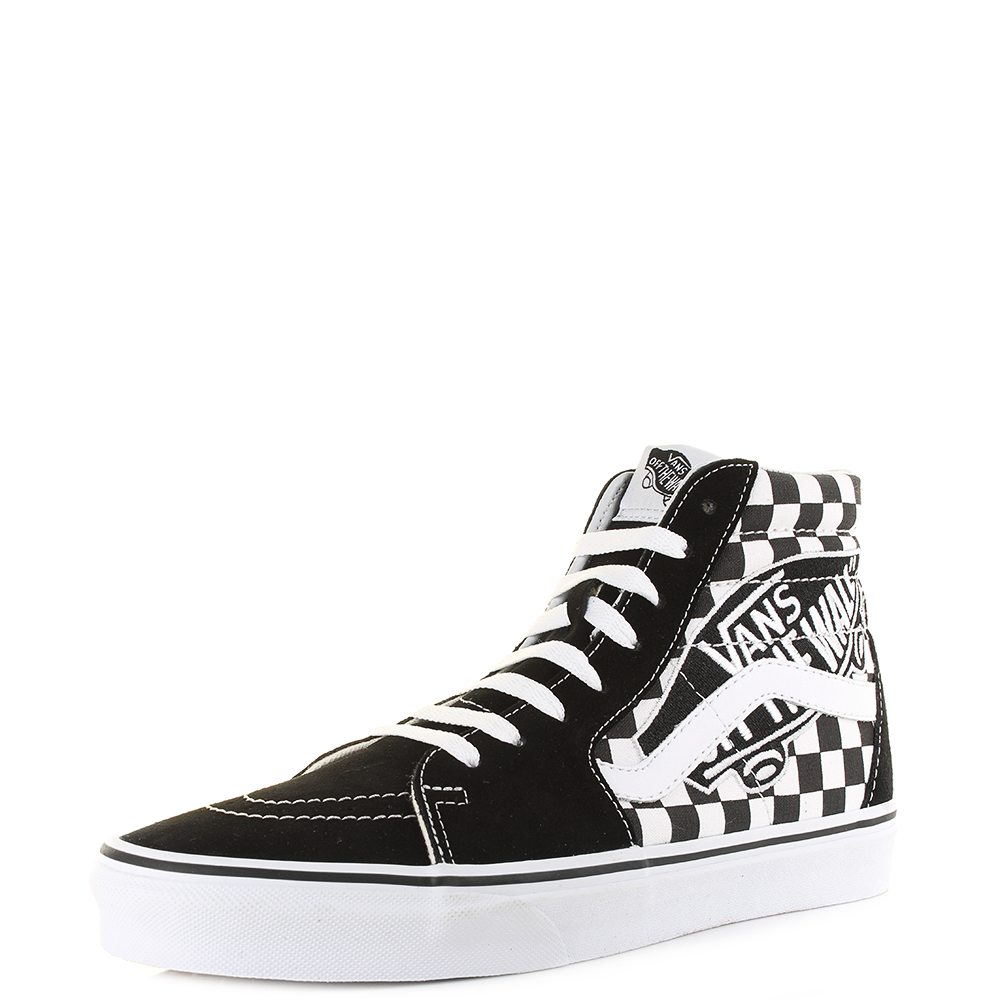 f39460b706 Details about Mens Vans Sk8-Hi Brand Patch Black White Checkerboard Hi Top  Trainers Shu Size