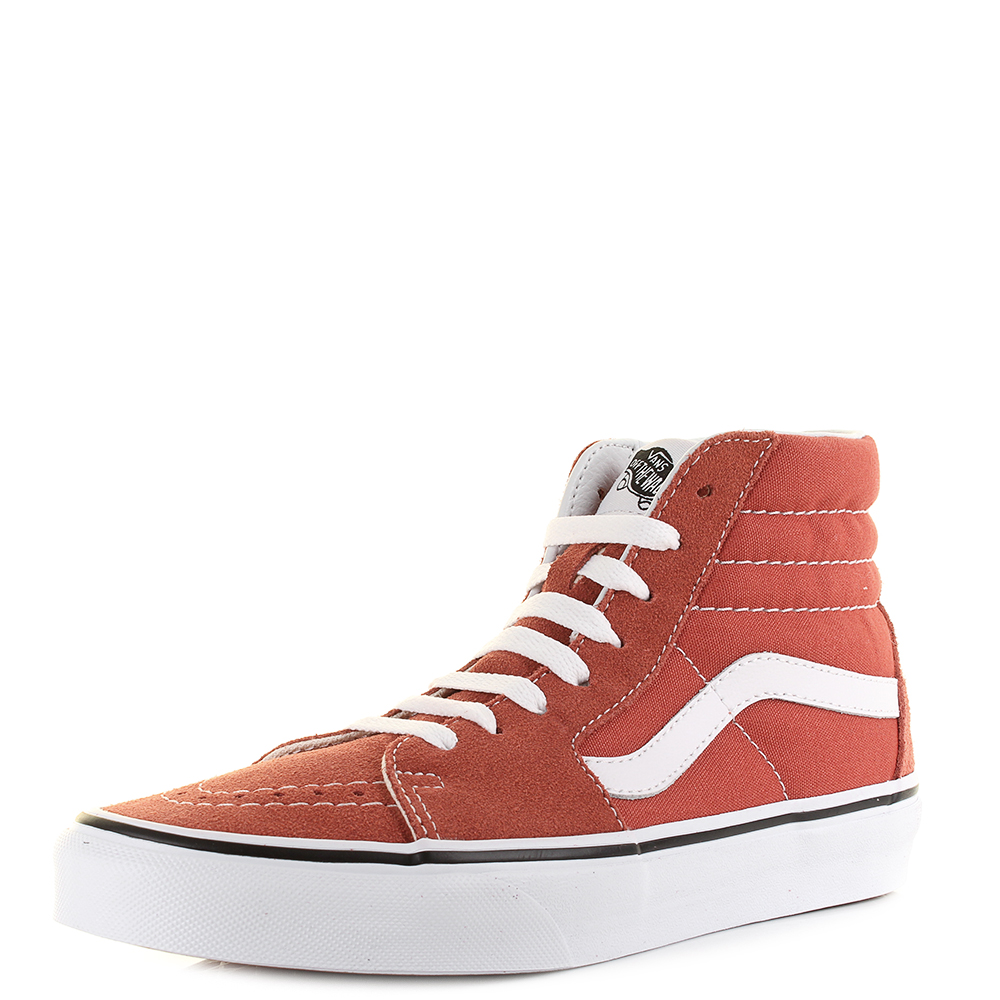 991e6b200a44 Vans Sk8 Hi Hot Sauce True White Classic Suede Canvas Hi Top Trainers Shu  Size
