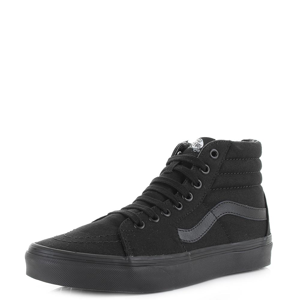 Mens Vans SK8 Hi Black Black Canvas Skate High Top Trainers Sz Size ... 84d46c226