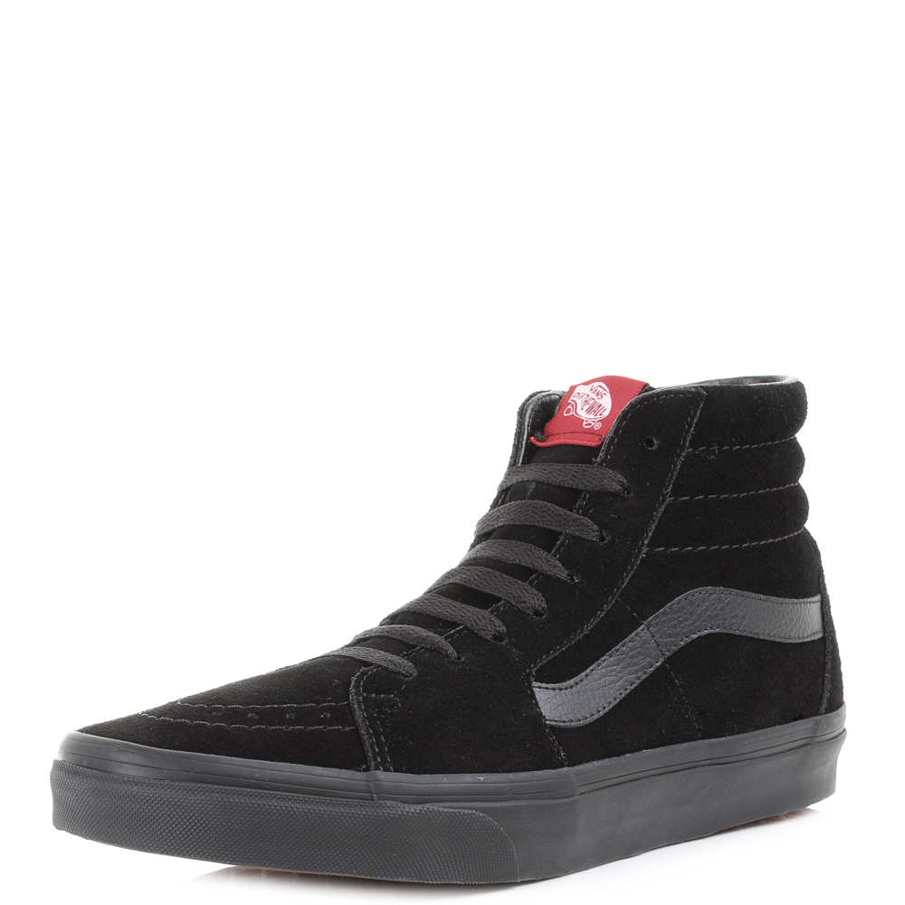 5d2c782b75a72 Mens Vans Sk8 Hi Black Black Suede Casual Leather High Top Trainers UK Size