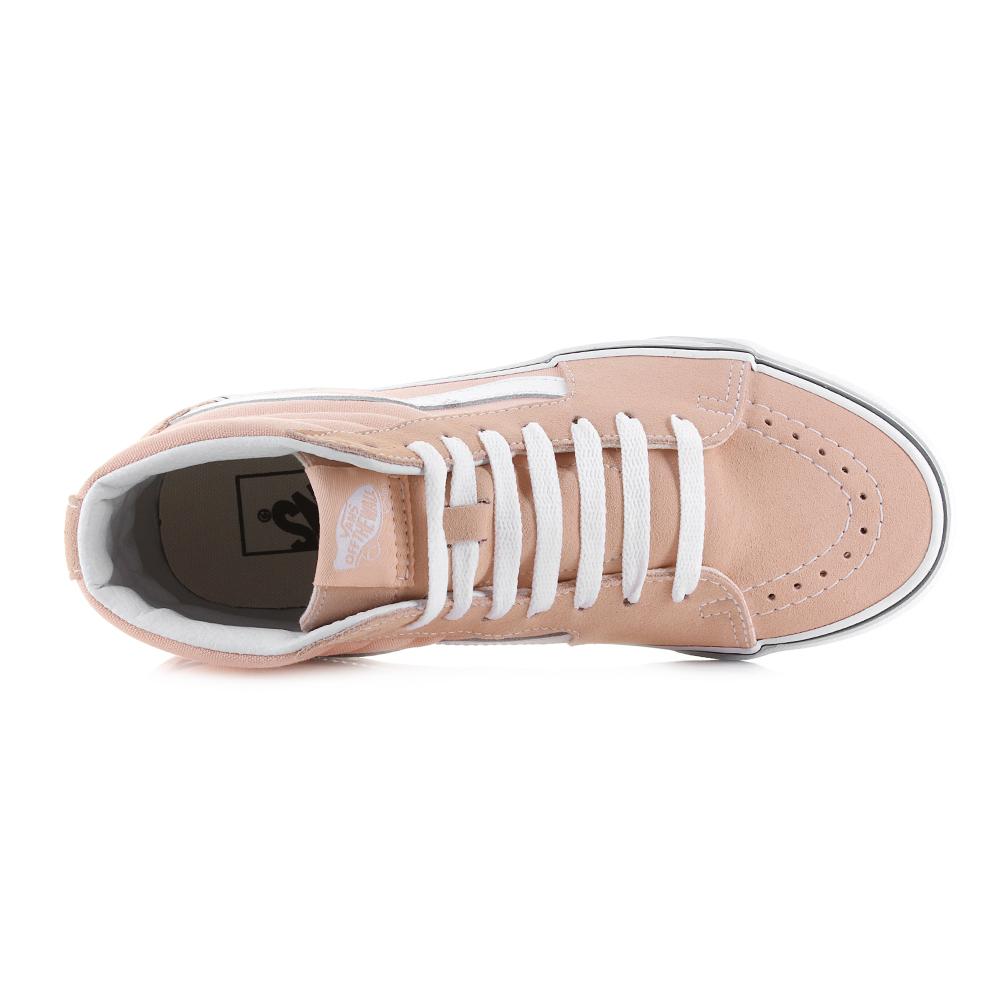 4afda2fd53 Womens Vans Sk8 Hi Bleached Apricot True White Classic Trainers Sz ...