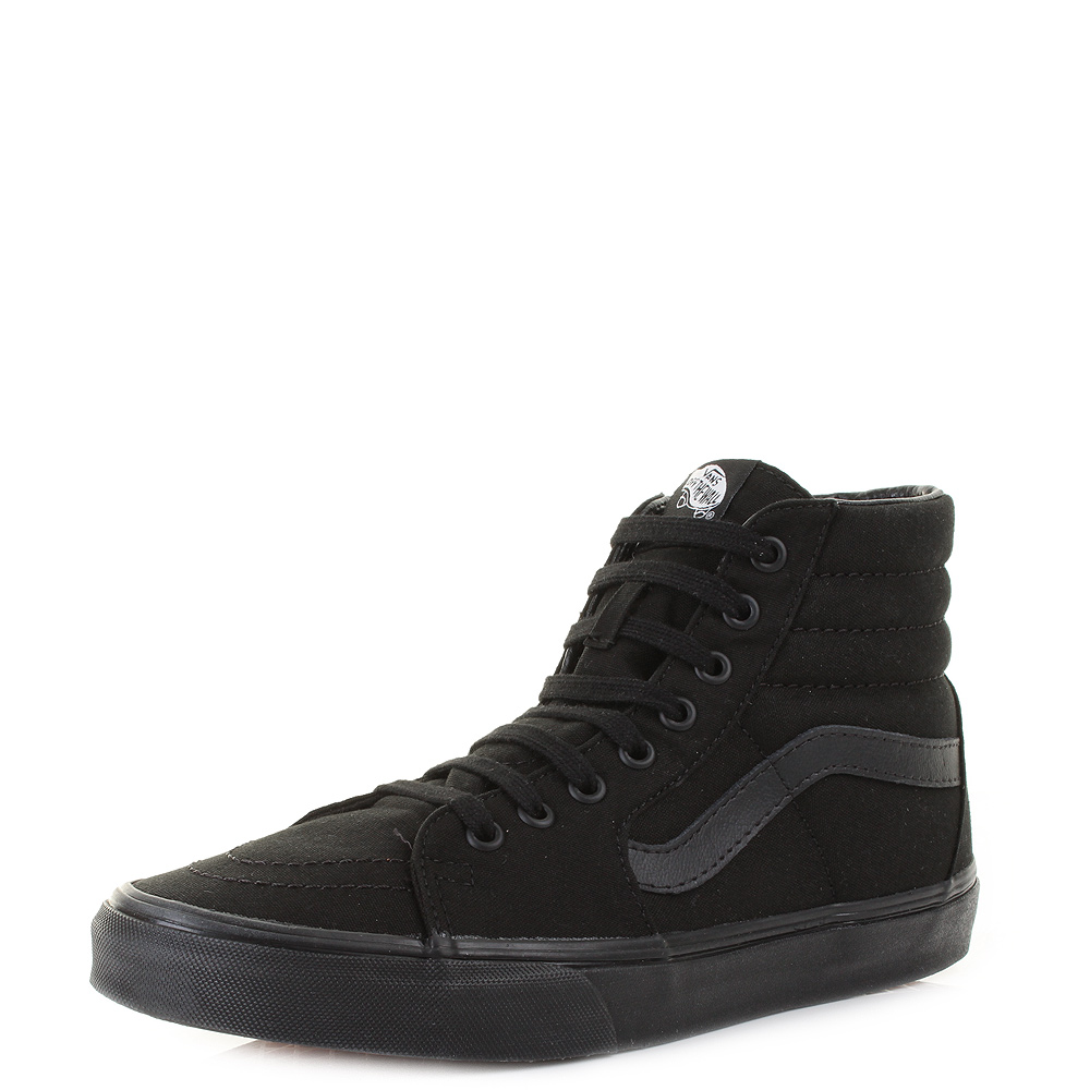 a3ce4c8b923 Mens Unisex Vans Sk8 Hi All Black Canvas Retro Skate Boarding Trainers S  Size