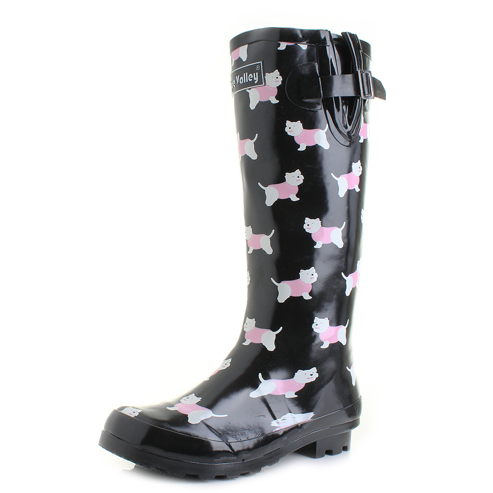 a5e073a1bfb Details about Womens Wyre Yorkie Dog Black Print Wellies Wellington Boots  Shu Size