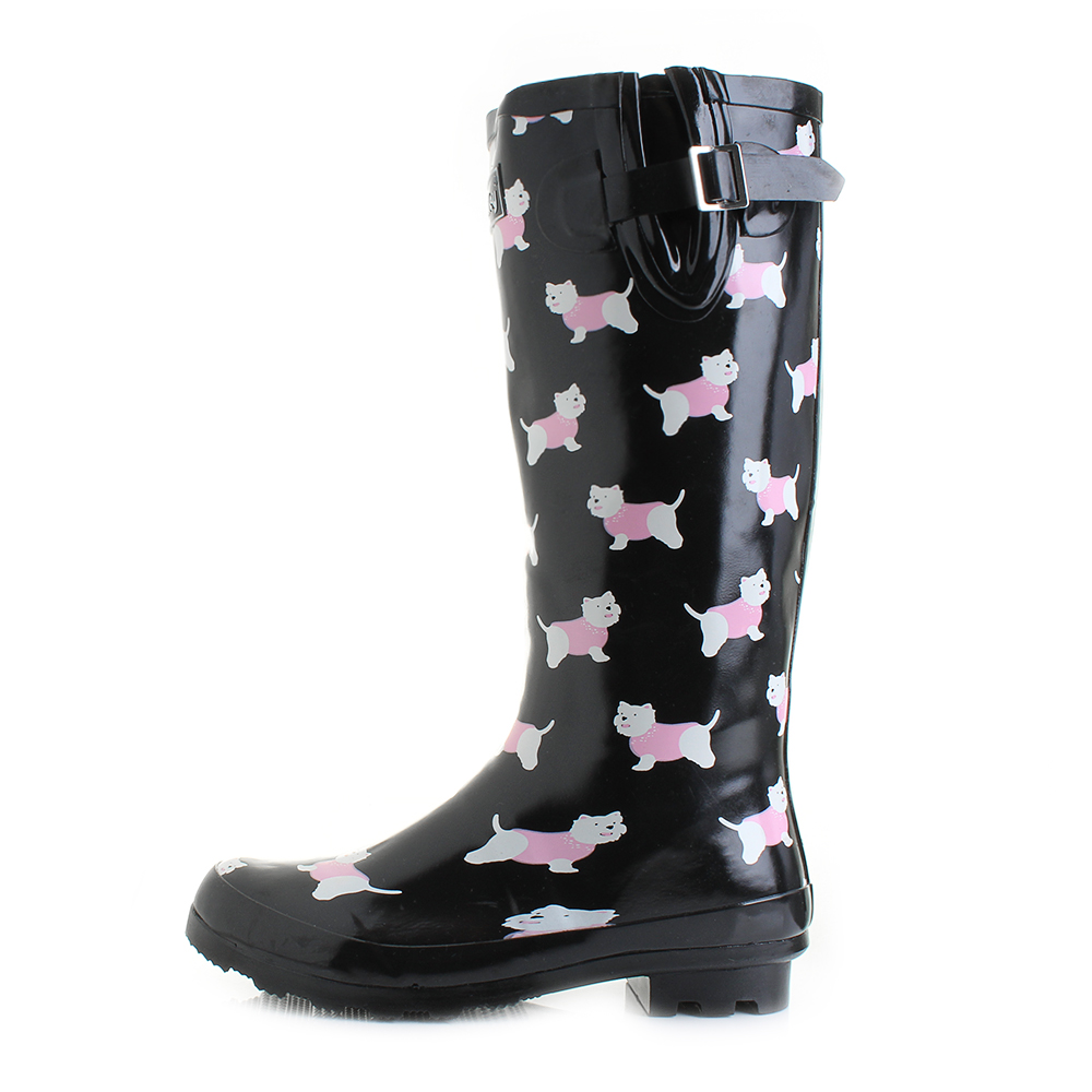 Womens Wyre Yorkie Dog Black Print Wellies Wellington Boots Shu Size