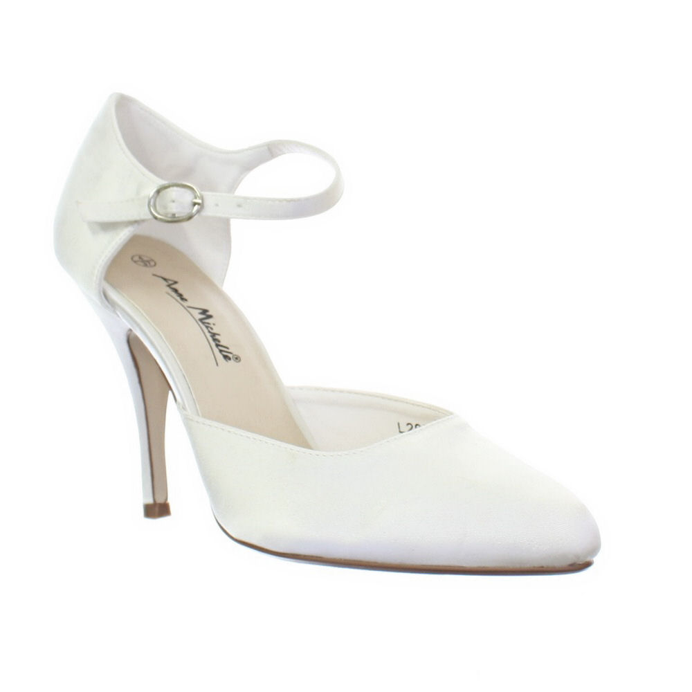 ankle strap wedding shoes womens ankle ivory satin bridal wedding bridesmaid 1313