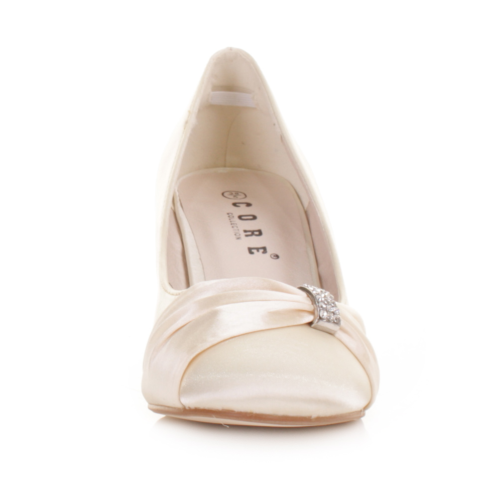 Womens Low Kitten Heel Bridal Wedding Ivory Satin Diamante Court Shoes Size 3 8 Ebay