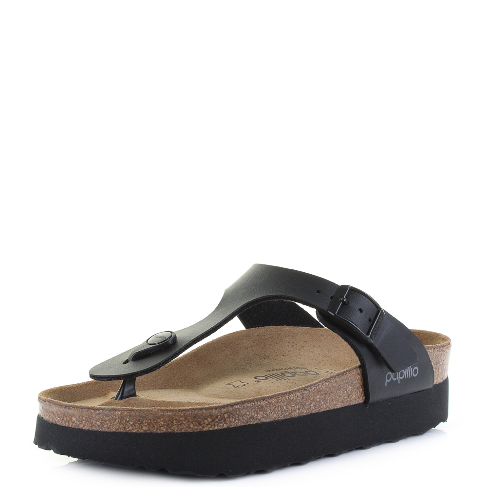 d8210f3984f8 Womens Birkenstock Gizeh Platform Papillio Black Regular Fit Sandals Shu  Size