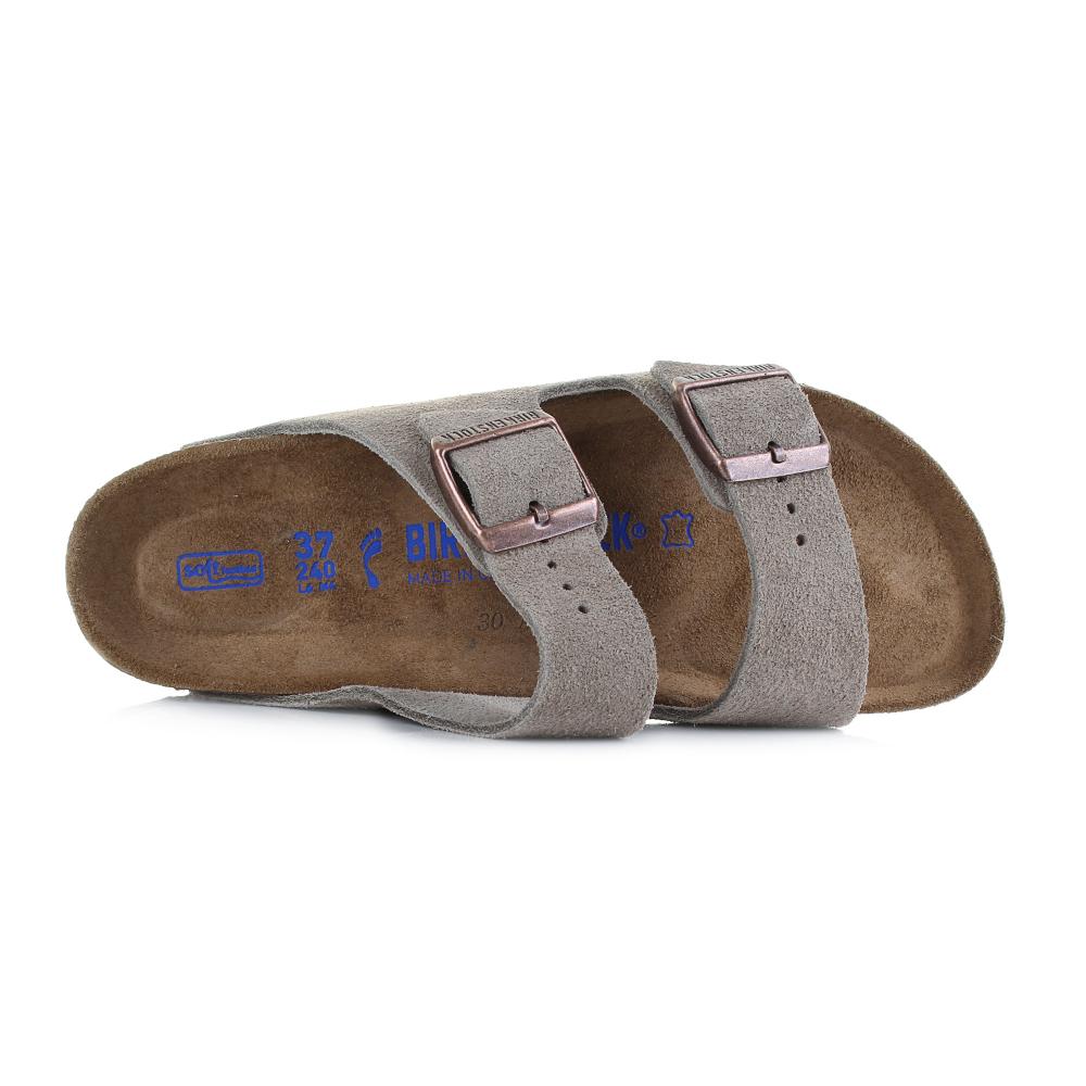 e65debf868d7 Birkenstock Arizona Soft Footbed Taupe Suede Leather Narrow Sandals ...