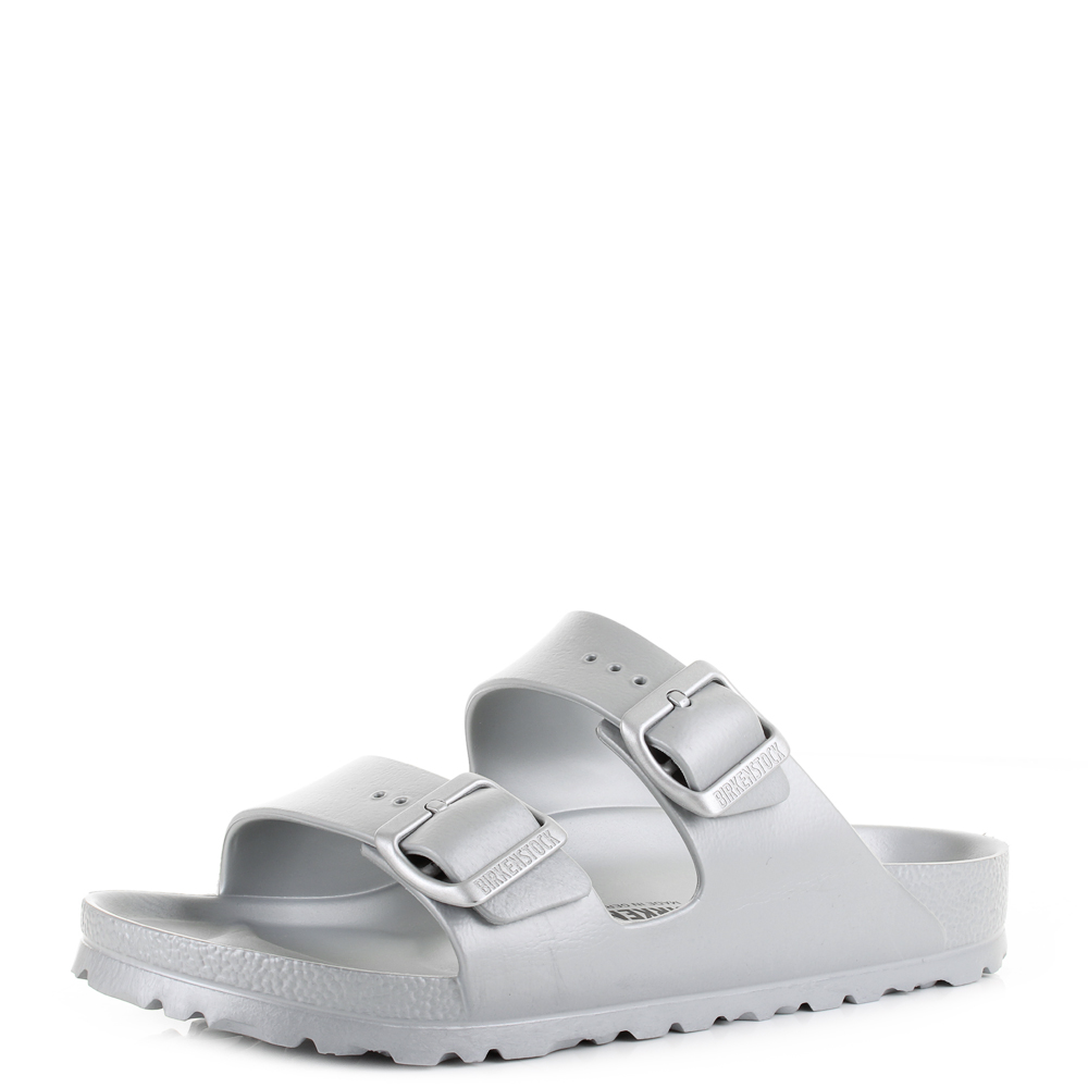 40f48c750130 Details about Womens Birkenstock Arizona EVA Silver Narrow Fitting Twin  Strap Sandals Size