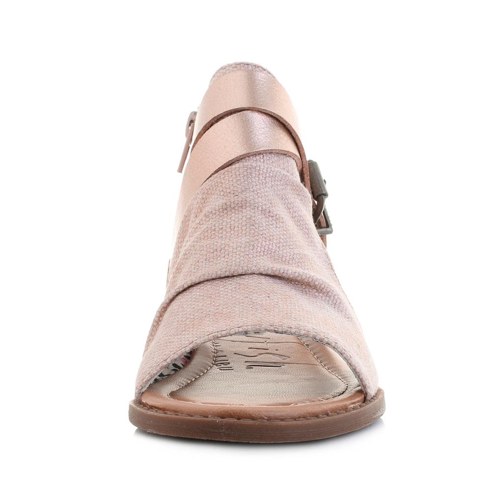 Ladies Blowfish Malibu BF5486 Balla Rose Gold Canvas Vegan Silhouette Sandals