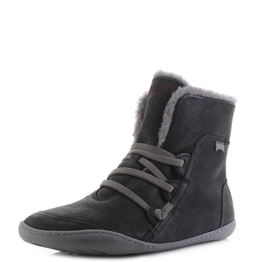 Details zu Womens Camper Peu Cami Opium Black Premium Leather Winter Boots Size
