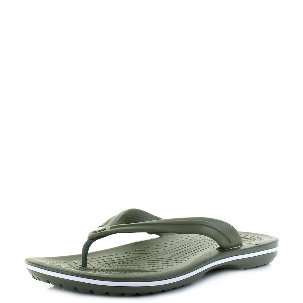 08be5623586e02 Mens Crocs Crocband Flip Army Green White Flip Flops Sz Size