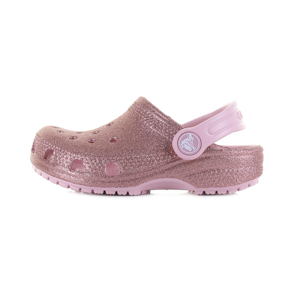 e879bad0ab0e Kids Girls Crocs Classic Glitter Clog Blossom Gold Pink clog Sandals Size