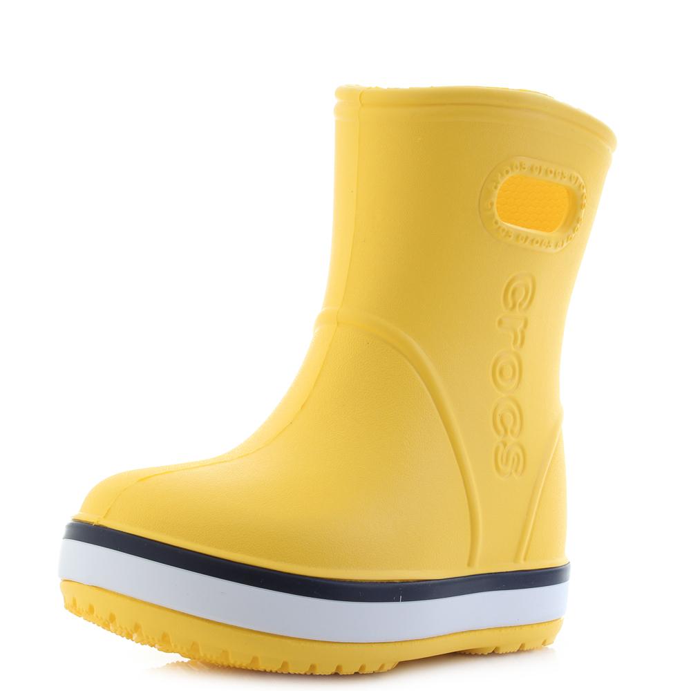 Kids Crocs Crocband Rain Boot Yellow Navy Blue Wellington Boots Size