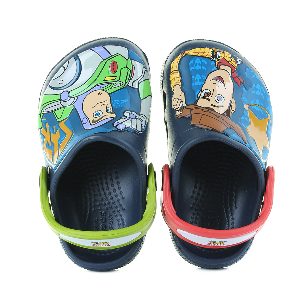 b8d422c1e487 Crocs Kids Fun Lab Buzz and Woody Toy Story Clogs Sandals UK Size