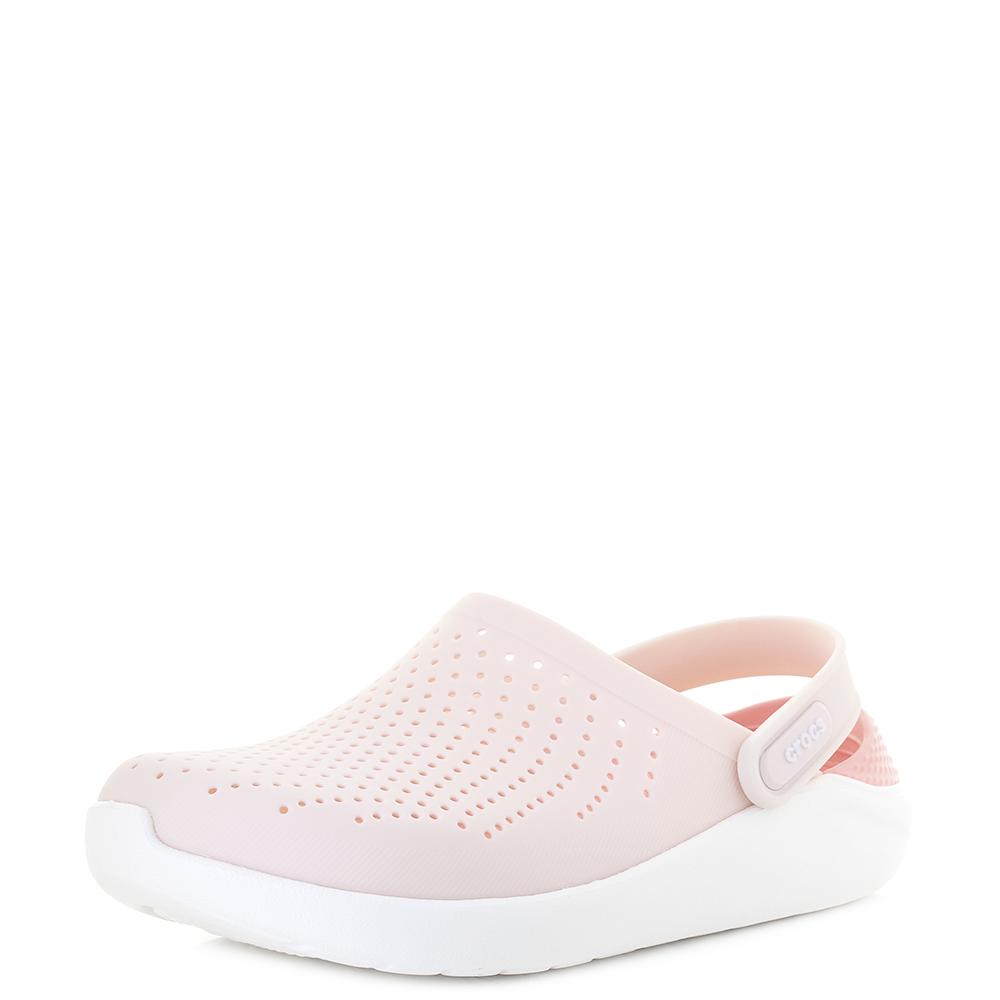 00a13625e689 Womens Crocs Literide Slip On comfort Clog Barely Pink White Sandals Shu  Size