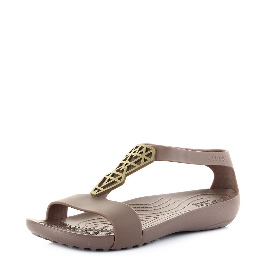 da9ee0835 Womens Crocs Serena Embellish Bronze Sandals Shu Size