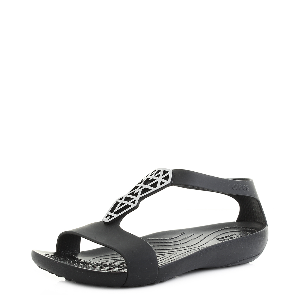 eb807a7be Details about Womens Crocs Serena Embellish Silver Black Flat Sandals Shu  Size