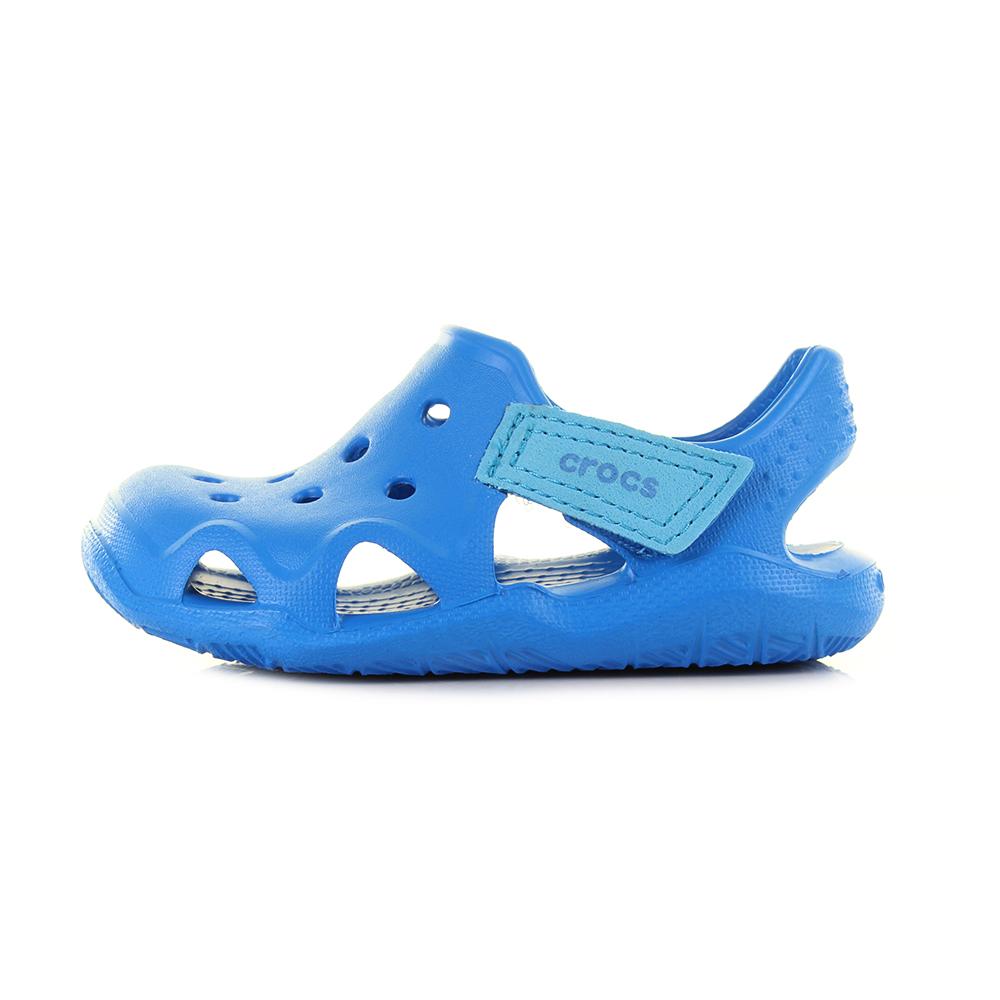 7119af0f283763 Crocs Kids Swiftwater Wave Ocean Blue Sandals Size