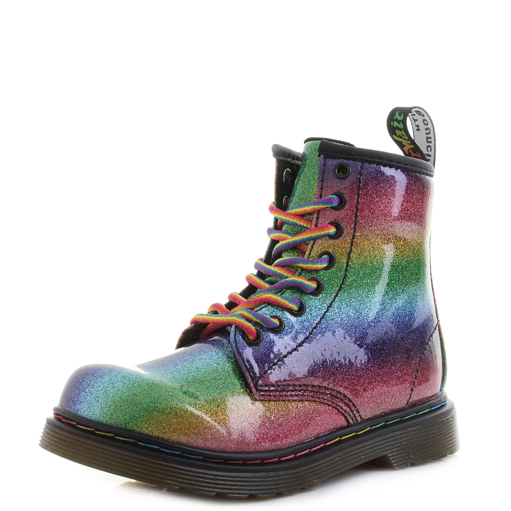 new season discount coupon great quality Details about Girls KIds Dr Martens 1460 Ombre Glitter J Rainbow Classic 8  Eye Boots Size