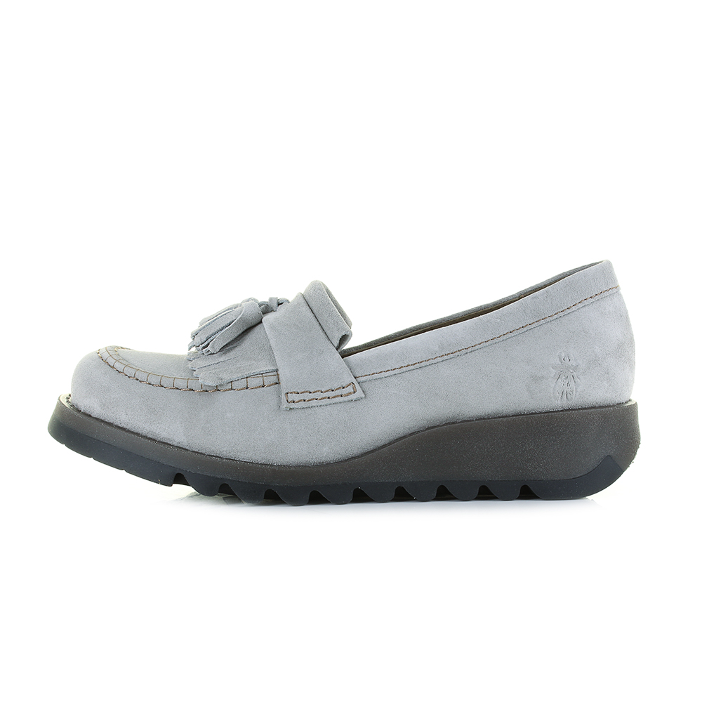524f2fa3e39 Womens Fly London Sepa Suede Concrete Grey Slip On Flatform Loafer Shoes  Size