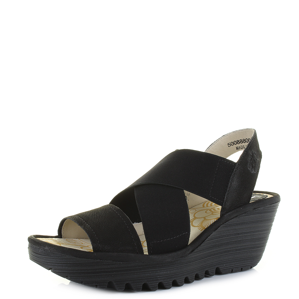 4a32058ed6f1 Womens Fly London Yaji Cupido Black Elasticated Strappy Wedge Sandals Size
