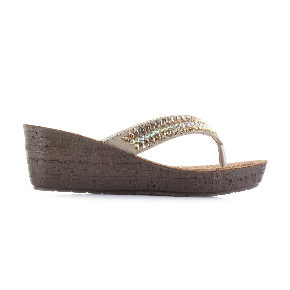 Womens Inblu GM000025 Sand Diamante Gold Metallic Wedge Sandals Size