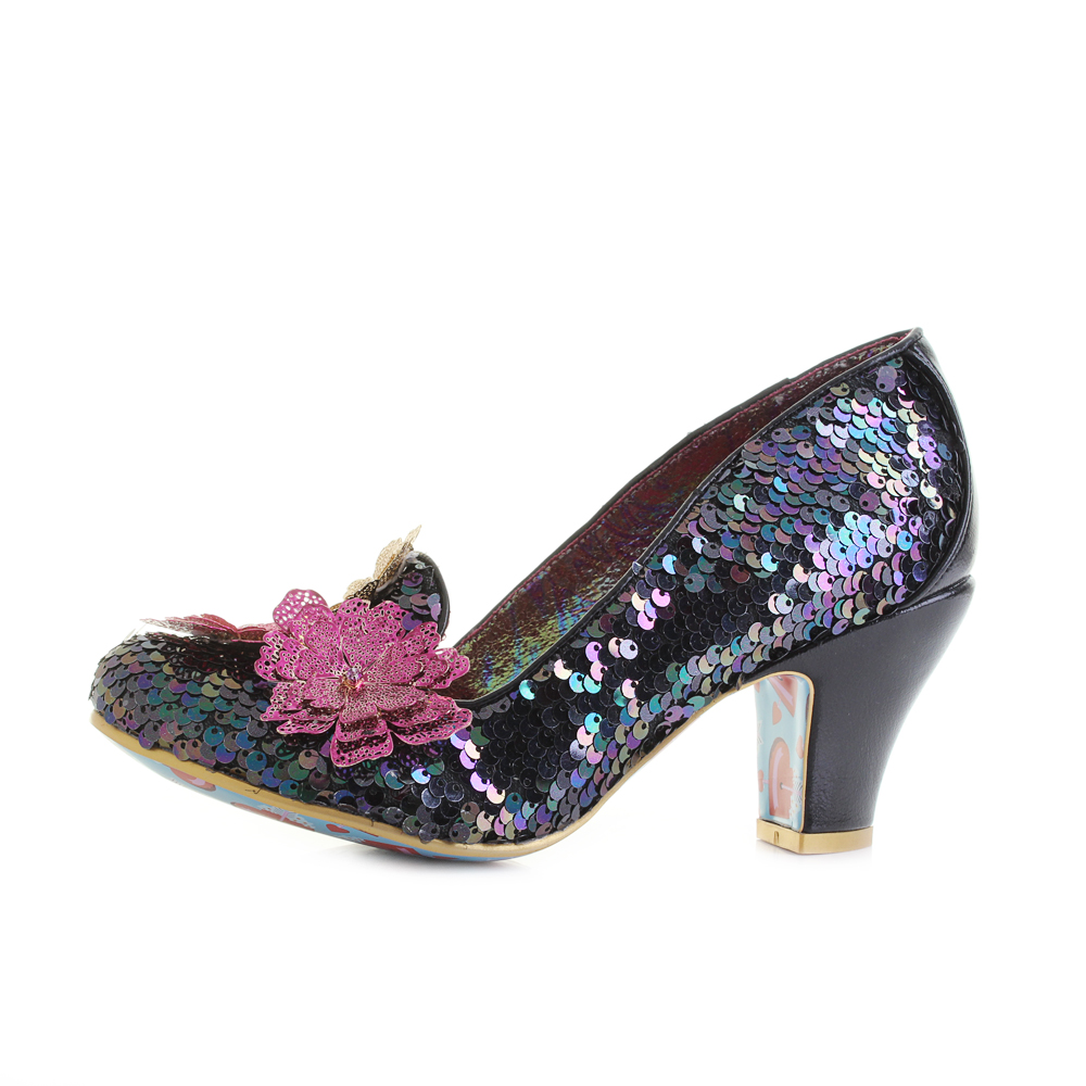 2112940411c Details about Womens Irregular Choice Cariad Black Multi Sequin Mid Heel  Shoes UK Size