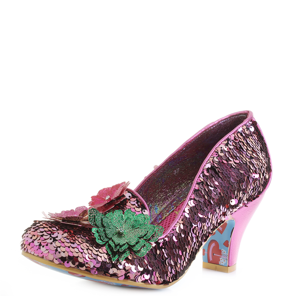 6387ff97974 Details about Womens Irregular Choice Cariad Pink Sequin Multi Mid Heel  Shoes Shu Size