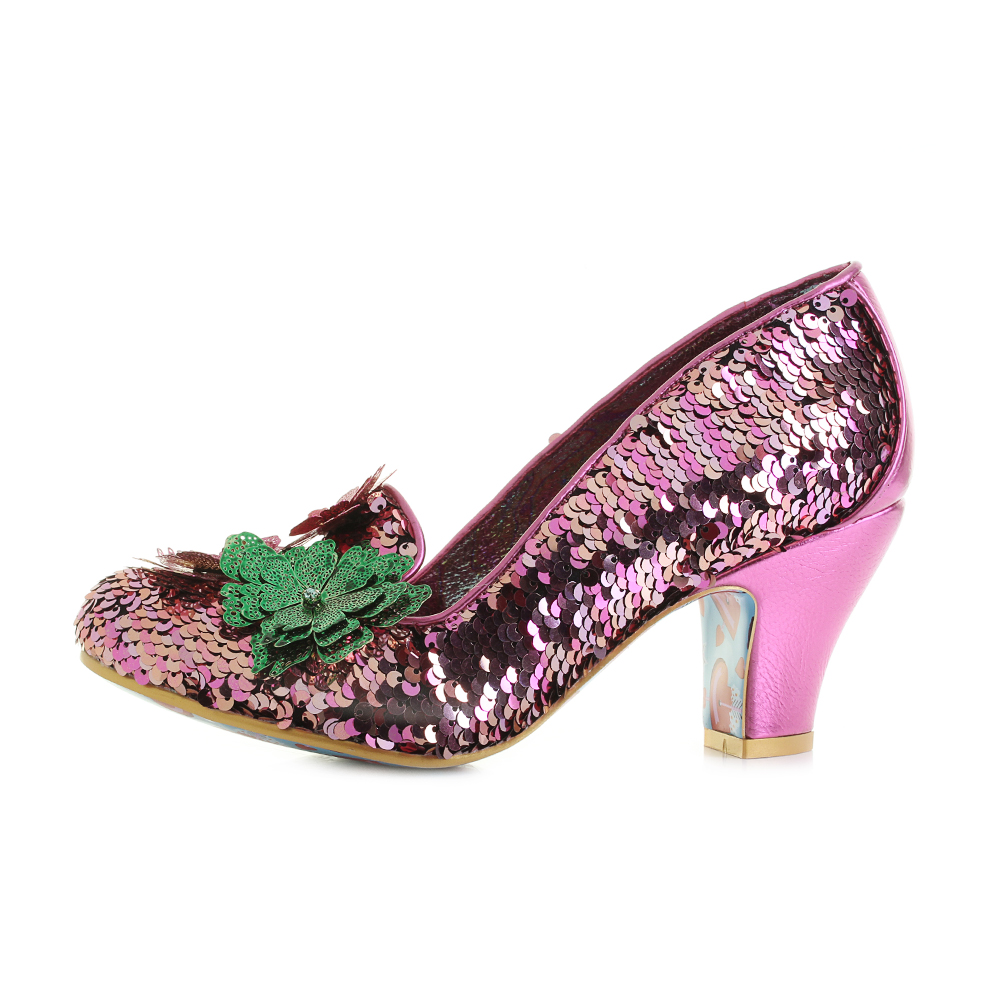 e27c39ba0aa Details about Womens Irregular Choice Cariad Pink Sequin Multi Mid Heel  Shoes UK Size