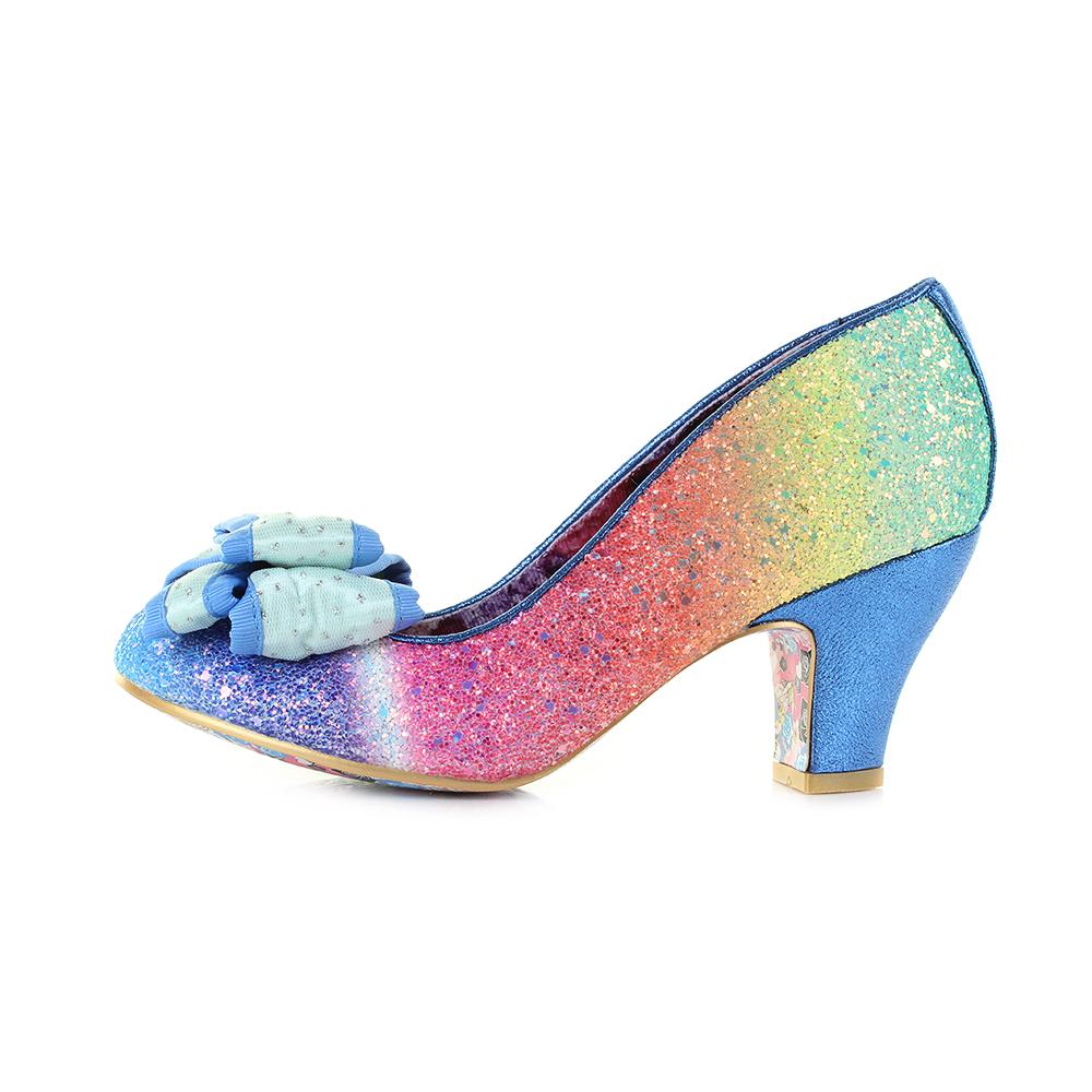 9179ecff076b Womens Irregular Choice Lady Ban Joe Blue Rainbow Low Heel Shoes Shu ...