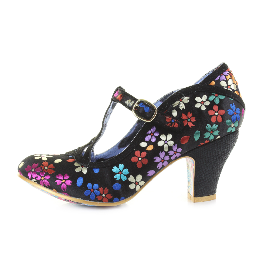 53997eaf94f Details about Womens Irregular Choice Nicely Done Black Floral Mary Jane  Heels Shoes UK Size